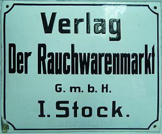 Verlag der Rauchwarenmarkt G. m. b. H., Leipzig, Brühl 13, Firmenschild.JPG