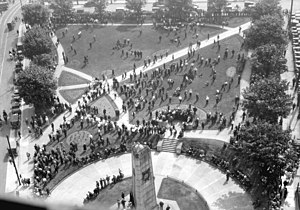 Victory Square, Vancouver - Police dispersing a demonstration of the unemployed, July, 1932.
