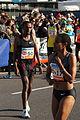 Vienna 2013-04-14 Vienna City Marathon - Nrs 50, Kasime Adilo Roba, ETH, F17, Eyerusalem Kuma, ETH, preparing for race.jpg