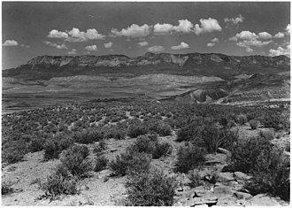 Pine Valley Mountains - Image: View from top of Hurrican Fault (La Verkin Hill) showing Pine Valley Mountain in distance with Vermillion Cliff... NARA 520420