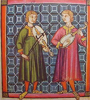 Vihuela - Musicians playing the vihuela, one with a bow, the other plucked by hand, in the Cantigas de Santa Maria of Alfonso X of Castile, 13th century
