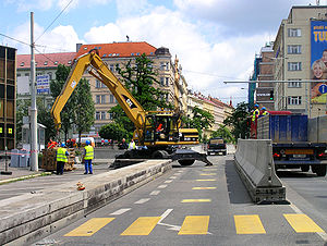 Radio Free Europe/Radio Liberty - 1994–2008, RFE/RL used the former Federal Parliament building of the abolished Czechoslovakia in Prague New Town. For many years past 2001, security concrete barriers reduced capacity of the most frequented roads in Prague center.