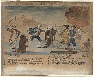 Virtual representation - Virtual Representative (standing, clad in brown) gives the British State (with blunderbuss) permission to rob a colonist. Catholic Quebec enjoys peace, Protestant Boston burns, and blinded Britannia approaches a pit. 1999 cartoon
