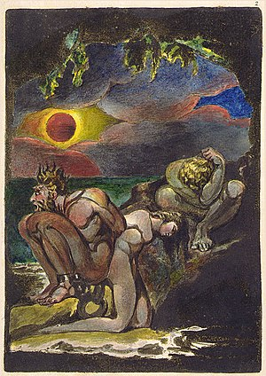 Free love - Frontispiece to William Blake's Visions of the Daughters of Albion (1793), which contains Blake's critique of Judeo-Christian values of marriage. Oothoon (centre) and Bromion (left), are chained together, as Bromion has raped Oothoon and she now carries his baby. Theotormon (right) and Oothoon are in love, but Theotormon is unable to act, considering her polluted, and ties himself into knots of indecision.