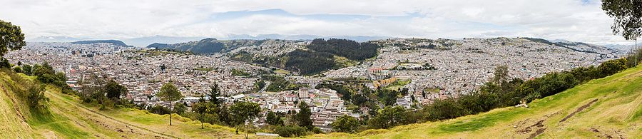View of Quito, capital of Ecuador, from El Panecillo. The city population is about 1,620,000 inhabitants and due to the orography of the region the city has a particular longish form.