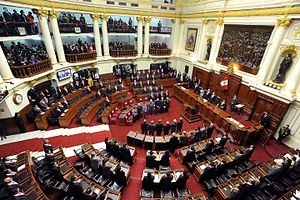 Legislature - The Congress of the Republic of Peru, the country's national legislature, meets in the Legislative Palace in 2010