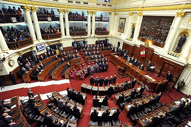The Congress of the Republic of Peru, the country's national legislature, meets in the Legislative Palace in 2010 Vista panoramica del Hemiciclo de sesiones del Congreso del Peru.jpg