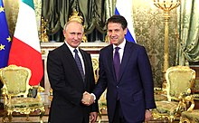 Conte e Vladimir Putin al Cremlino (ottobre 2018)