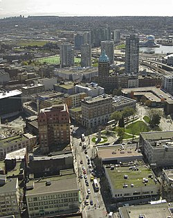 Victory Square aerial, taken from Harbour Centre Lookout. WHastings V square.jpg