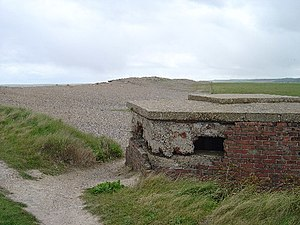 Cley Marshes - Ruined World War II pillbox at end of west bank