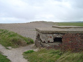 Cley Marshes - Extant World War II pillbox at end of west bank