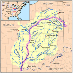 Map of the Wabash River watershed.