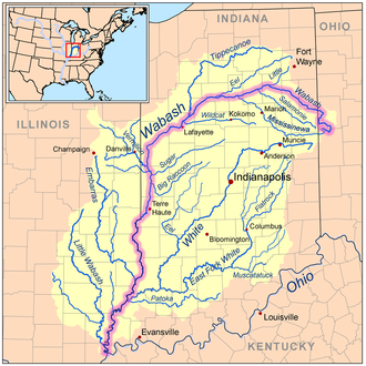 Wabash River - Map of the Wabash River catchment with the Wabash River highlighted.
