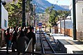 Waiting for cable car arrival, Hakone, Kanagawa Prefecture, December 2014.jpg