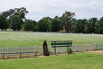 Boundary (cricket) - A cricket oval in Wallendbeen, New South Wales with a white picket fence, traditionally used as the boundary