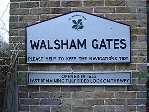 Wey and Godalming Navigations - Lock sign at Walsham Gates where the river and canal are divided by a weir