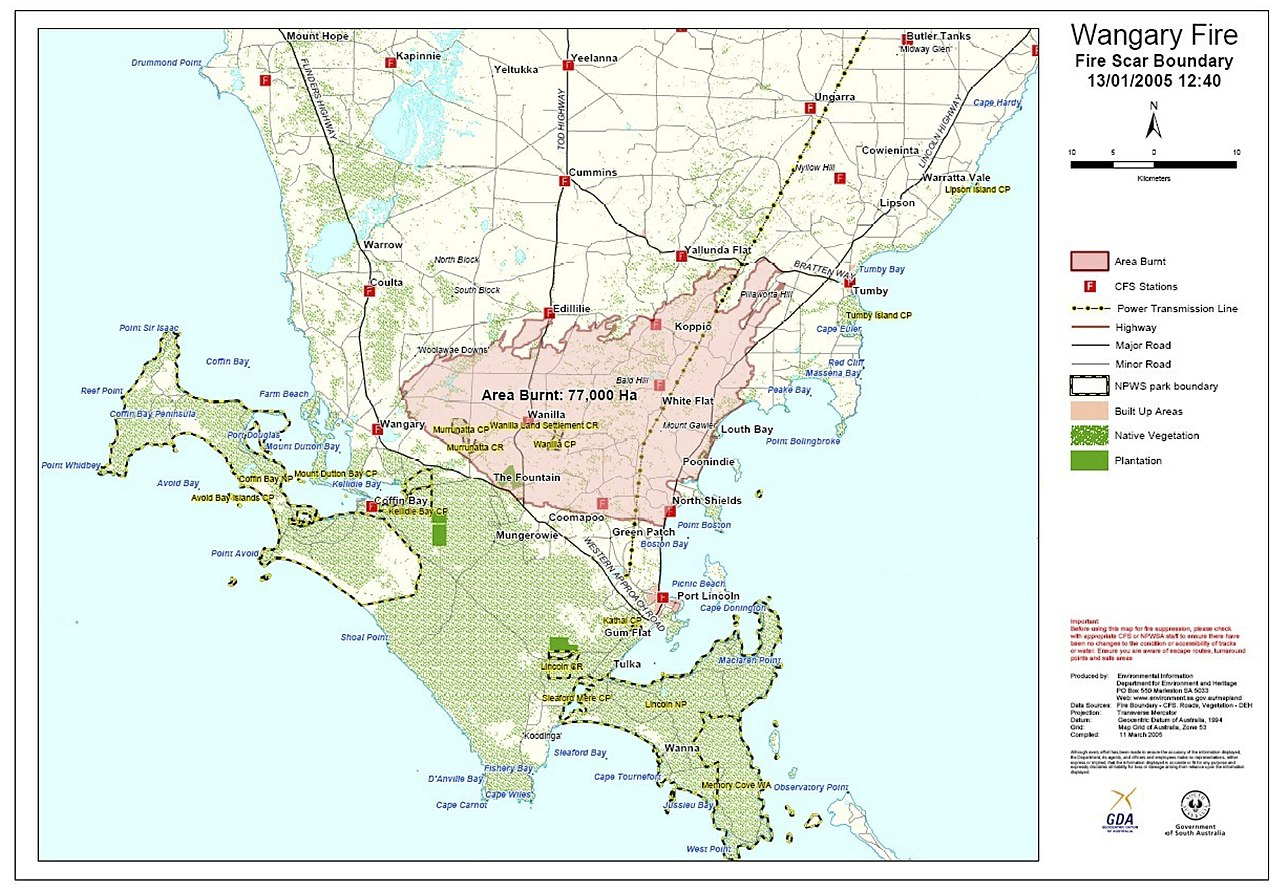 File:Wangary Fires (Eyre Peninsula) inquest - -- map of fire scour  boundary.jpg - Wikimedia Commons