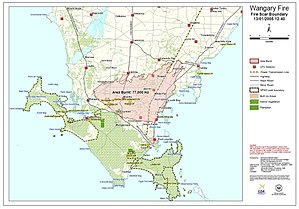 Eyre Peninsula bushfire, 2005 - Image: Wangary Fires (Eyre Peninsula) inquest map of fire scour boundary