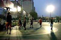Basketball being played in a Shanghai neighborhood
