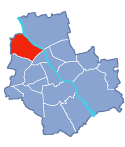 Location of Bielany within Warsaw
