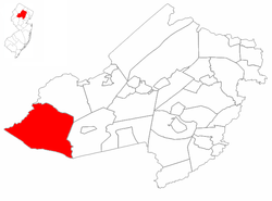 Washington Township highlighted in Morris County. Inset map: Morris County highlighted in the State of New Jersey.
