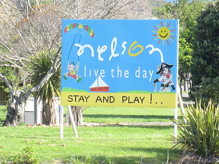 The sign that welcomes visitors to Nelson Welcome to Nelson sign.JPG