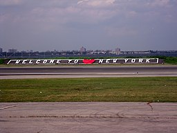 Welcome to New York sign KLGA