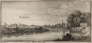 Battle of Willstätt - The Rhine river with Strasbourg in distance during the 17th century, by Wenceslaus Hollar.