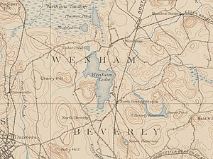 Wenham Lake - Map of Wenham Lake, 1897, showing the now commuter rail.