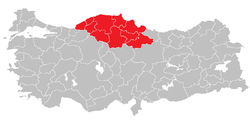 Location of West Black Sea Region