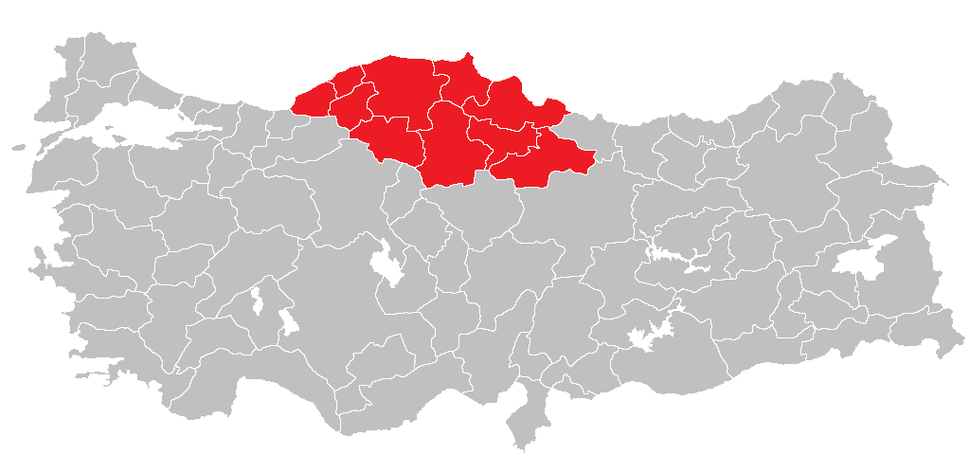 Location of West Black Sea Region