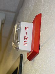 A fire alarm notification appliance with a strobe light.