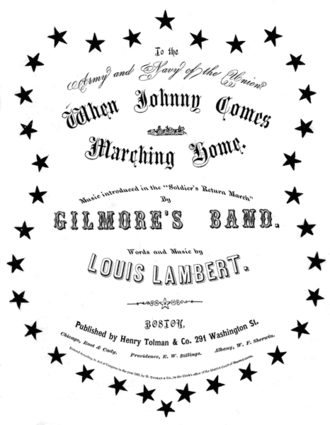 "Thomas Brigham Bishop - Sheet music cover page for ""When Johnny Comes Marching Home"" (1863), attributed to ""Louis Lambert"""