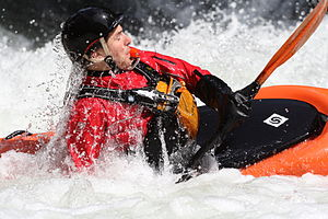 Kayak roll - Image: Whitewater kayaker rolls on the Middle White Salmon