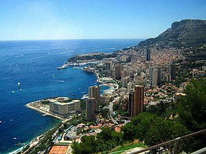Early-August 2006 view of Monte Carlo (and Monaco) from the east