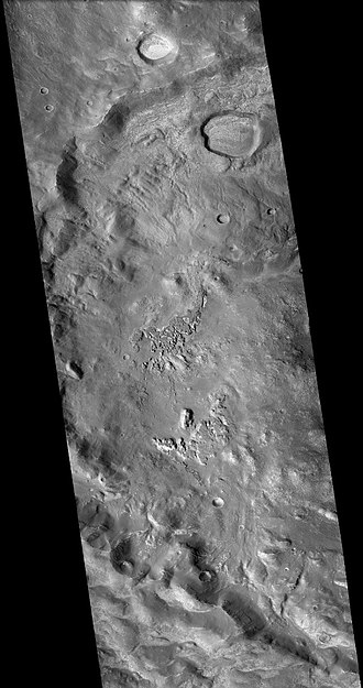 Lampland (Martian crater) - Lampland Crater, as seen by CTX camera (on Mars Reconnaissance Orbiter).
