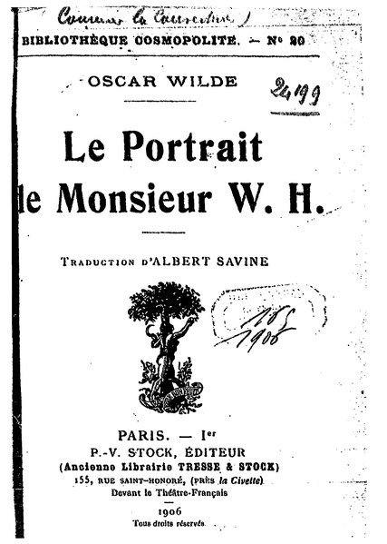 File:Wilde - Le Portrait de monsieur W. H., trad. Savine, 1906.djvu