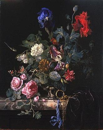Flower Still life with a watch - Image: Willem van Aelst Bloemenstilleven met horloge
