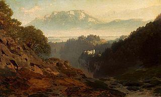 Krajobraz górzysty z zamkiem