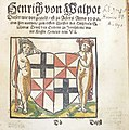 Woodcut arms of Heinrich Walpot von Bassenheim (hand-colored) used by Georg Osterberger of Königsberg.jpg