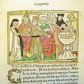 Woodcut illustration of Constance of Sicily, her husband HRE Henry VI and her son HRE Frederick II - Penn Provenance Project.jpg