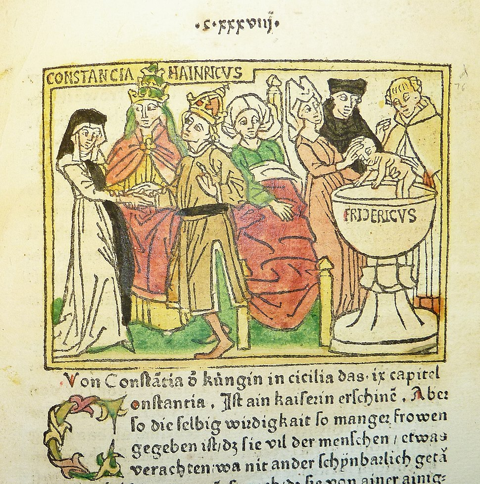 Woodcut illustration of Constance of Sicily, her husband HRE Henry VI and her son HRE Frederick II - Penn Provenance Project