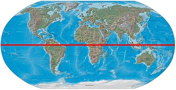 World map showing the equator in red