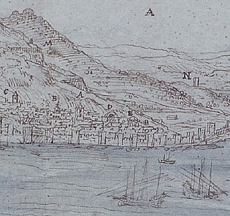 St. Jago's Arch - Image: Wyngaerde Gibraltar (crop of southern end of town)