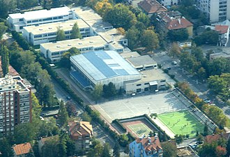 XV Gymnasium - Aerial view of the school. In the upper-left corner, the new wing can be seen.