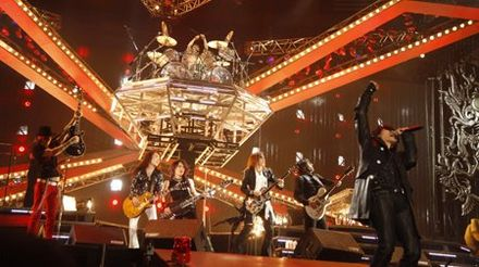 X Japan with guests Richard Fortus, Sugizo, and Wes Borland in 2008. X Japan in France.jpg