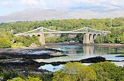 Y Fenai a Phont y Borth - Menai Staits and the Menai Suspension Bridge, Wales 02 (cropped).jpg