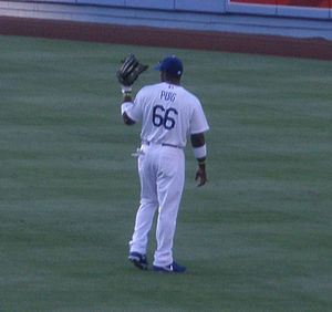Yasiel Puig - Puig in the Dodger Stadium outfield for the 2013 Los Angeles Dodgers