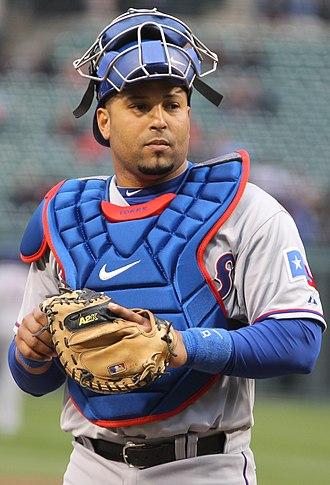 Yorvit Torrealba - Torrealba playing for the Texas Rangers in 2011