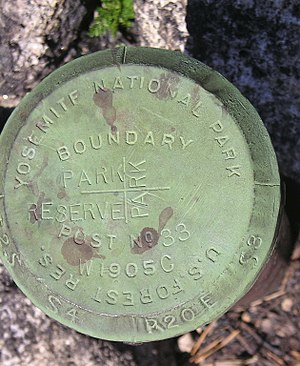 Public Land Survey System - Figure 4. The engraved cap on a corner monument pipe, in western Yosemite National Park, placed in 1905 during the Park boundary resurvey